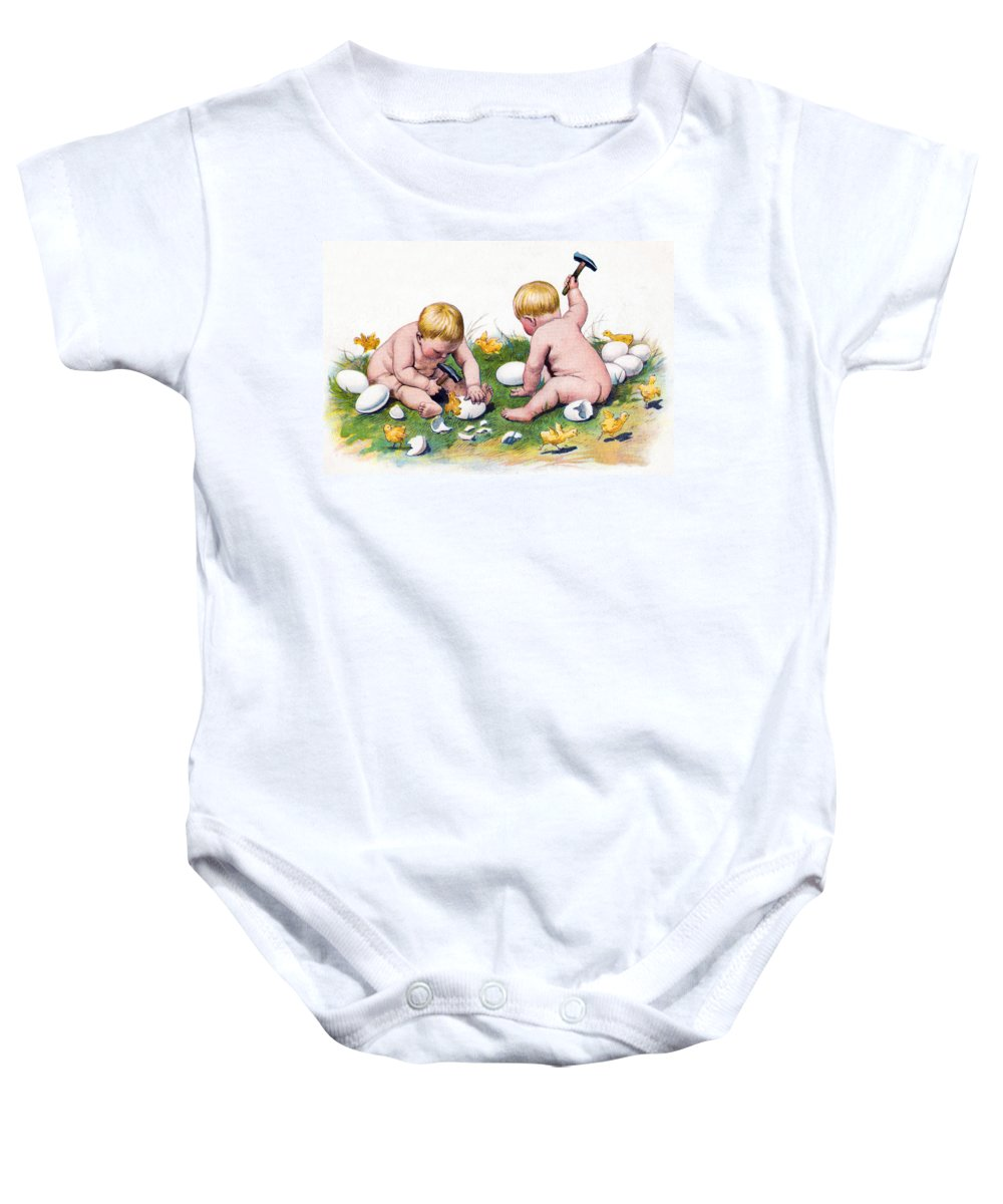 Easter Baby Onesie featuring the photograph White Eggs by Munir Alawi
