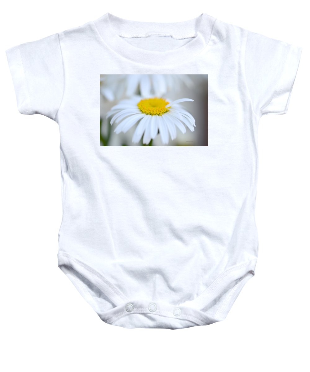 Daisy Baby Onesie featuring the photograph White Wedding by Donna Blackhall