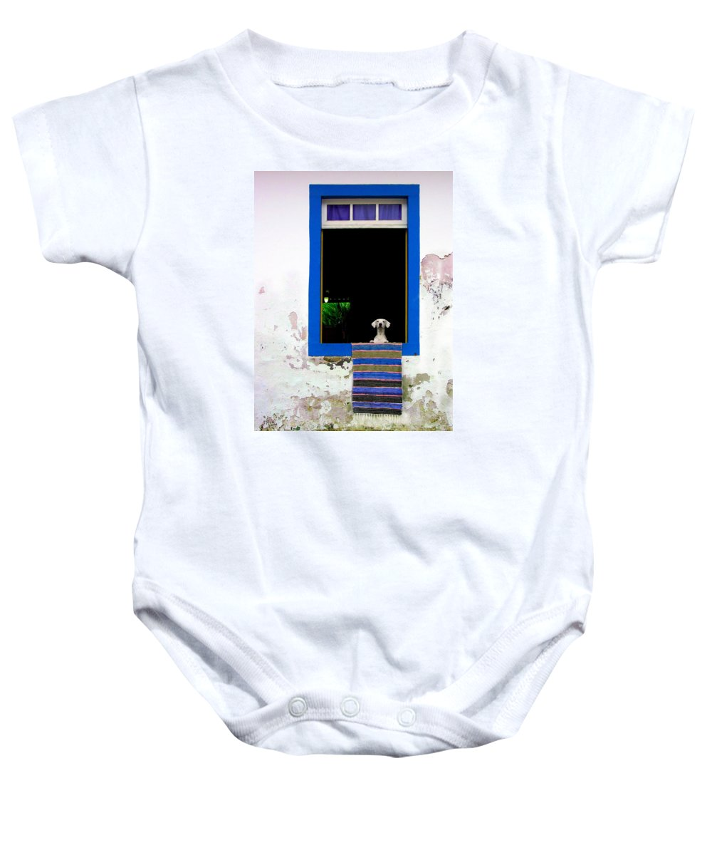 Dog Baby Onesie featuring the photograph Who's There? by Matt Proehl