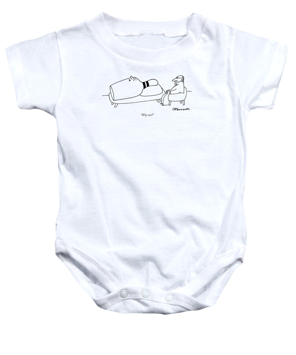 Bowling - General Baby Onesie featuring the drawing Why Me? by Charles Barsotti