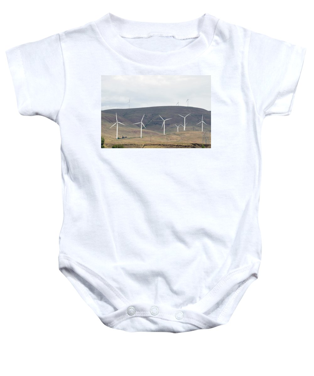 Wind Baby Onesie featuring the photograph Wind Turbine Power Farm by Jit Lim
