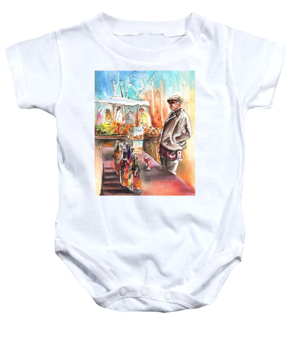 Travel Baby Onesie featuring the painting Wine Vendor In A Provence Market by Miki De Goodaboom