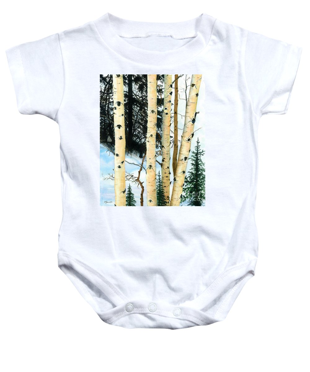 Water Color Paintings Baby Onesie featuring the painting Winter Aspens by Barbara Jewell