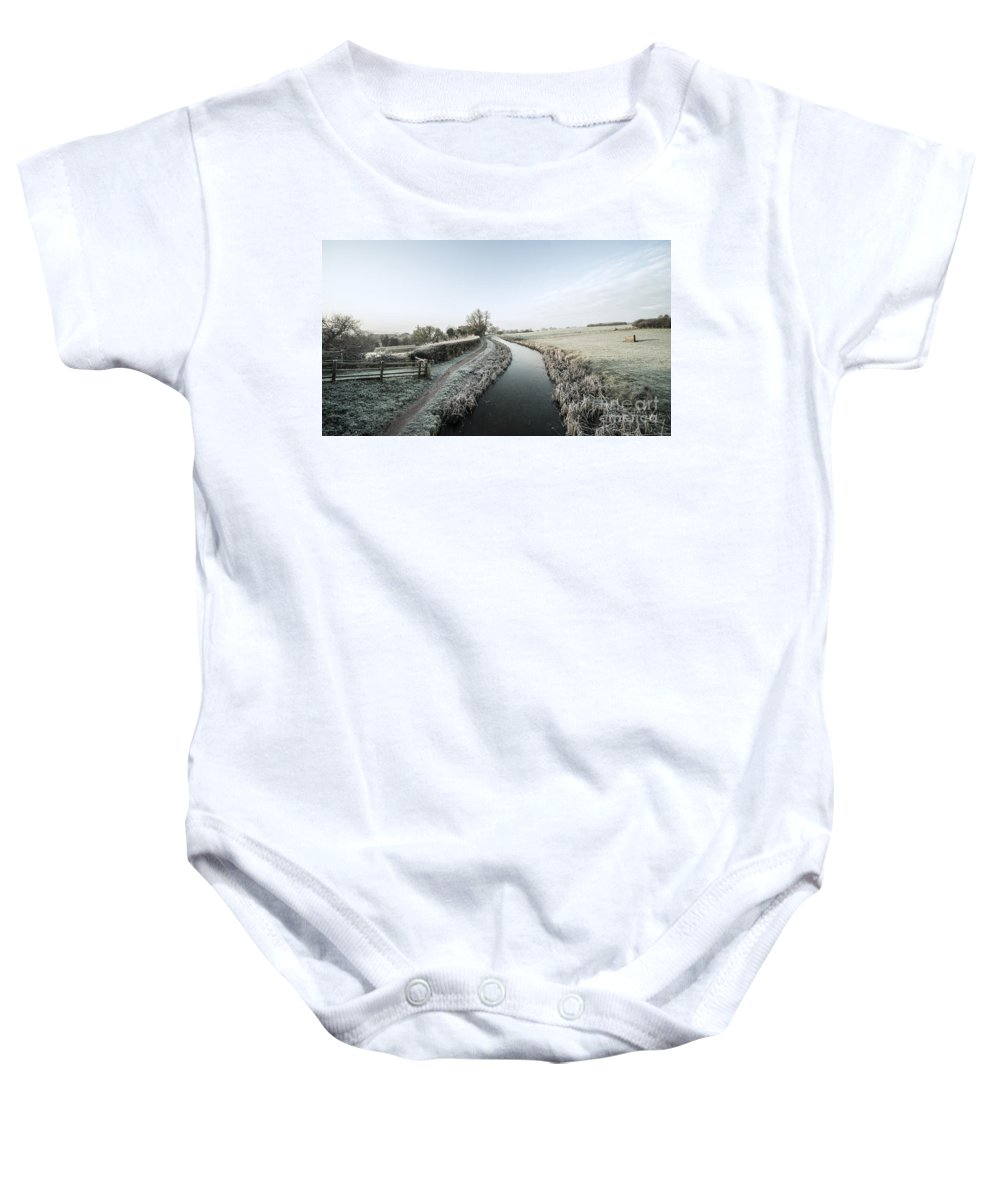 Ayshford Baby Onesie featuring the photograph Winter At Ayshford by Rob Hawkins