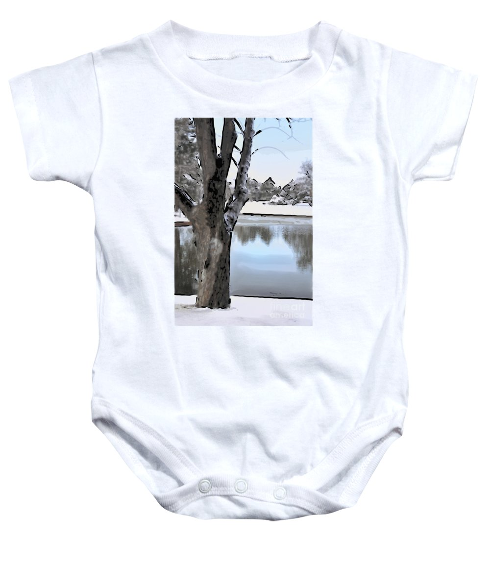 Landscape Baby Onesie featuring the photograph Winter Beauty by Betty LaRue