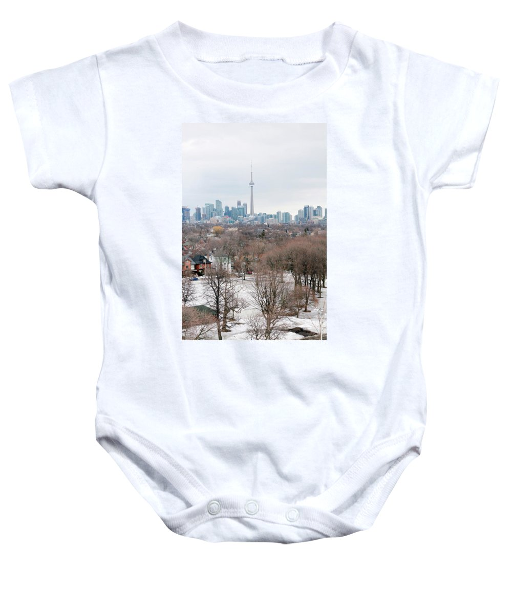 Apartment Baby Onesie featuring the photograph Winter In Toronto by Valentino Visentini