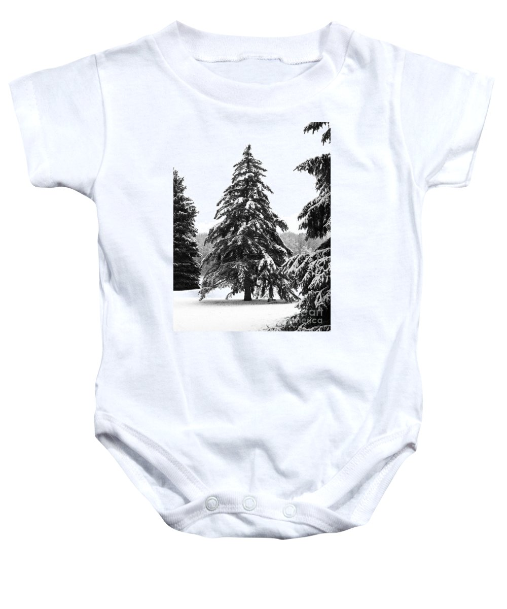 Winter Baby Onesie featuring the photograph Winter Pines by Ann Horn