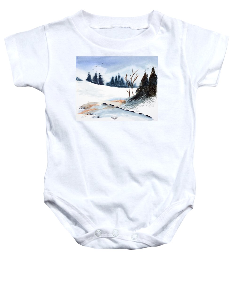 Watercolor Baby Onesie featuring the painting Winter Stream    by Wade Binford