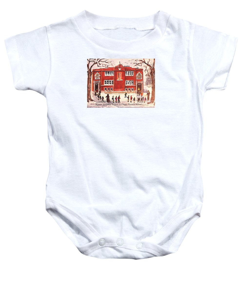 Landscape Baby Onesie featuring the painting Winter Vacation Begins For Saint Pierre's School by Rita Brown