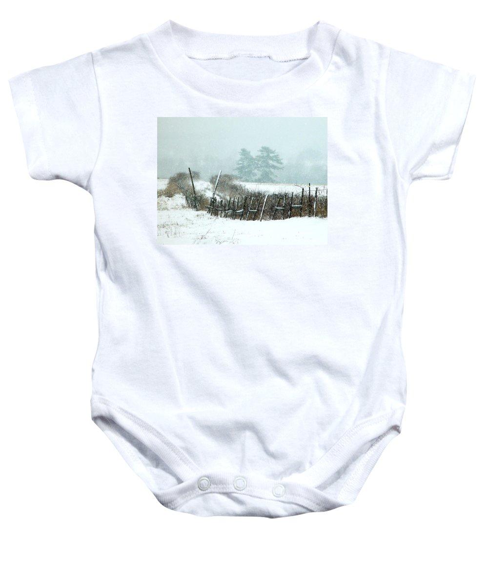 Winter Baby Onesie featuring the photograph Winter Wonderland - Amazing Winter Landscape With Snow Falling by James Scott Preston