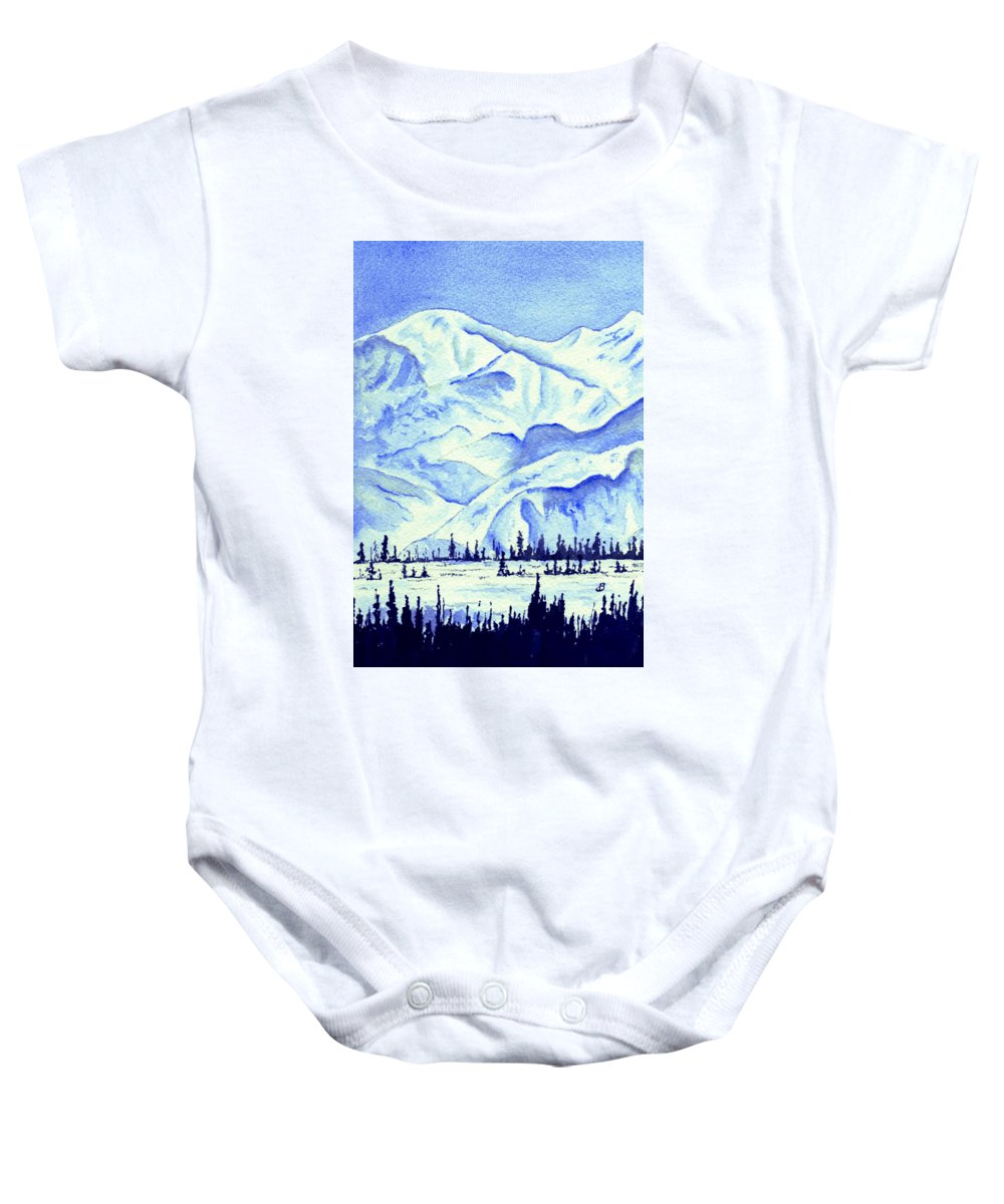 Landscape Baby Onesie featuring the painting Winter's White Blanket by Brenda Owen