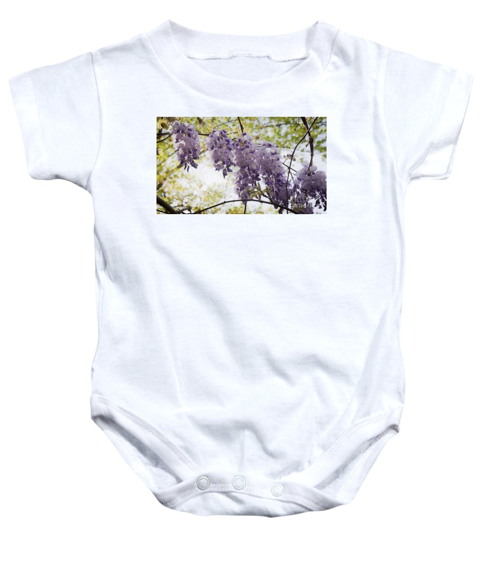 Wisteria Baby Onesie featuring the photograph Wisteria Row by Teresa Mucha