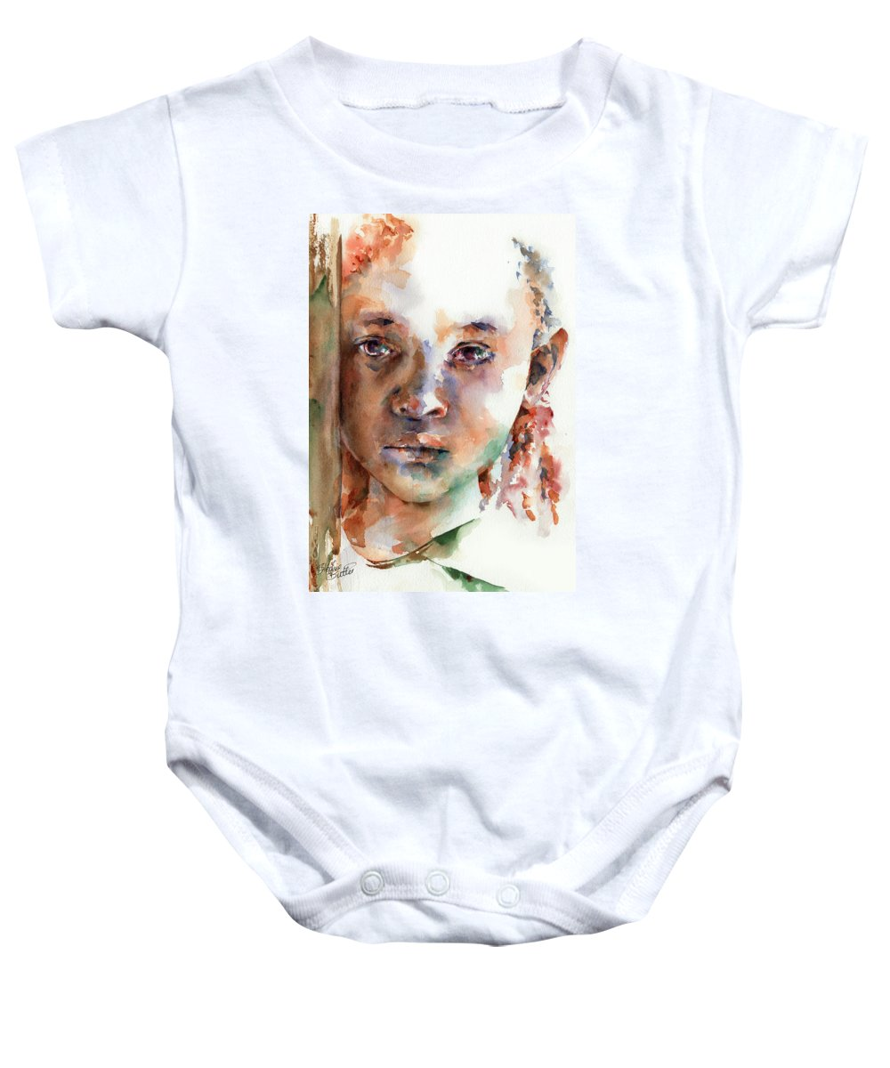 Girl Baby Onesie featuring the painting Wistful by Stephie Butler