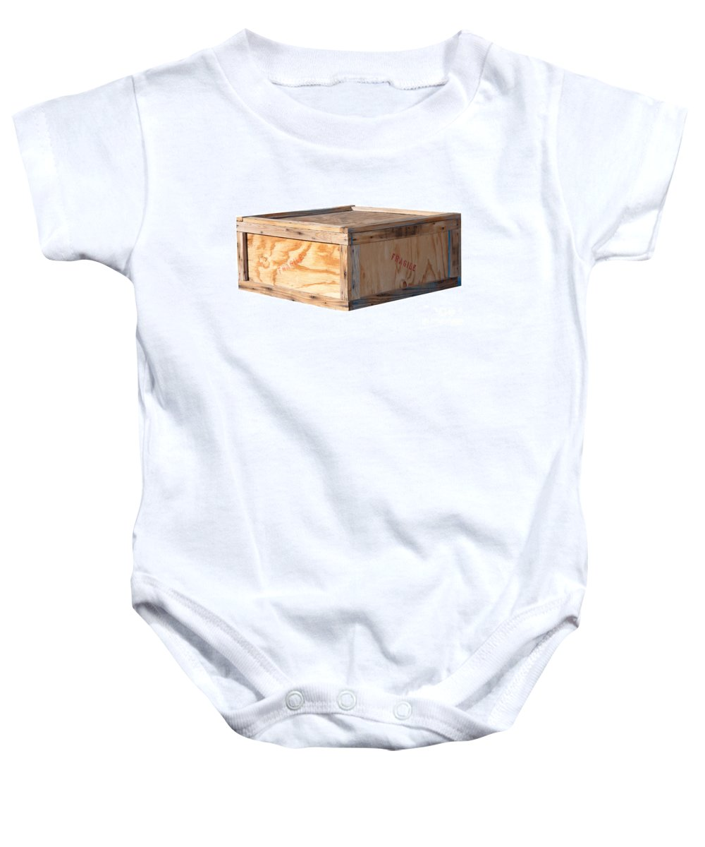 Background Baby Onesie featuring the photograph Wooden Shipping Box by Gunter Nezhoda