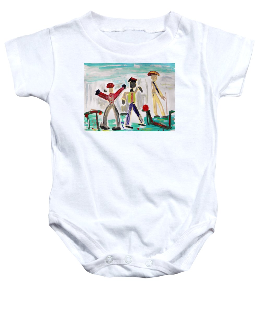 Men Baby Onesie featuring the painting Working by Mary Carol Williams