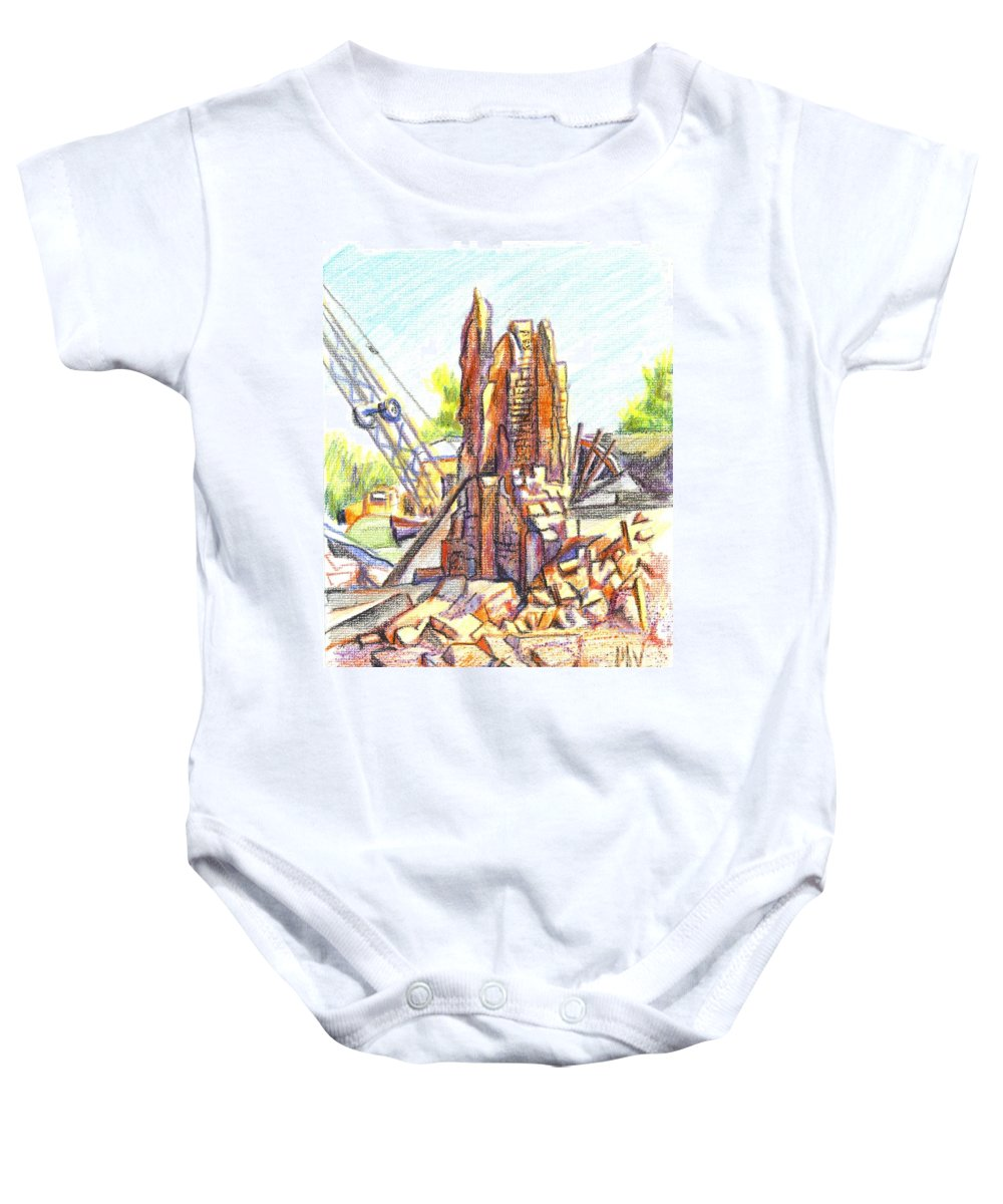 Wrecking Ball Baby Onesie featuring the painting Wrecking Ball by Kip DeVore