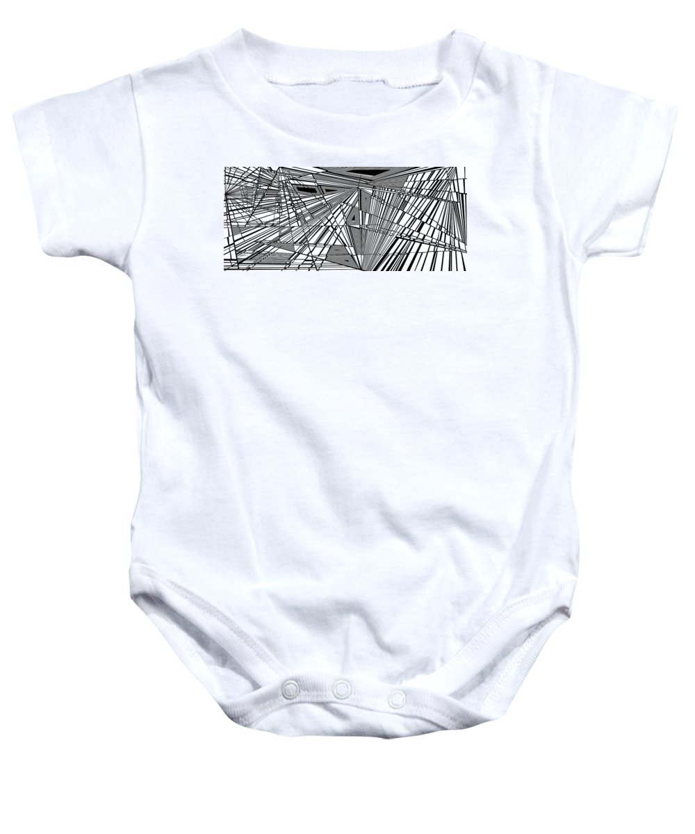 Dynamic Black And White Baby Onesie featuring the painting Wuthering Higher by Douglas Christian Larsen