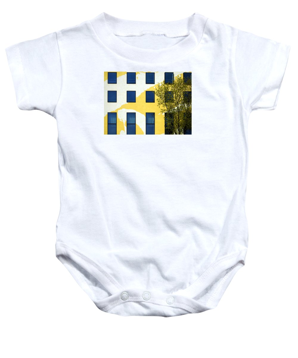 Behrenstra�e Baby Onesie featuring the photograph Yellow Facade In Berlin by RicardMN Photography