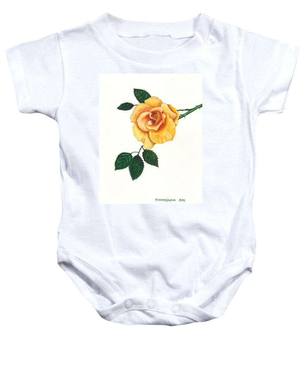 Painting Baby Onesie featuring the painting Yellow Rose by Margaryta Yermolayeva