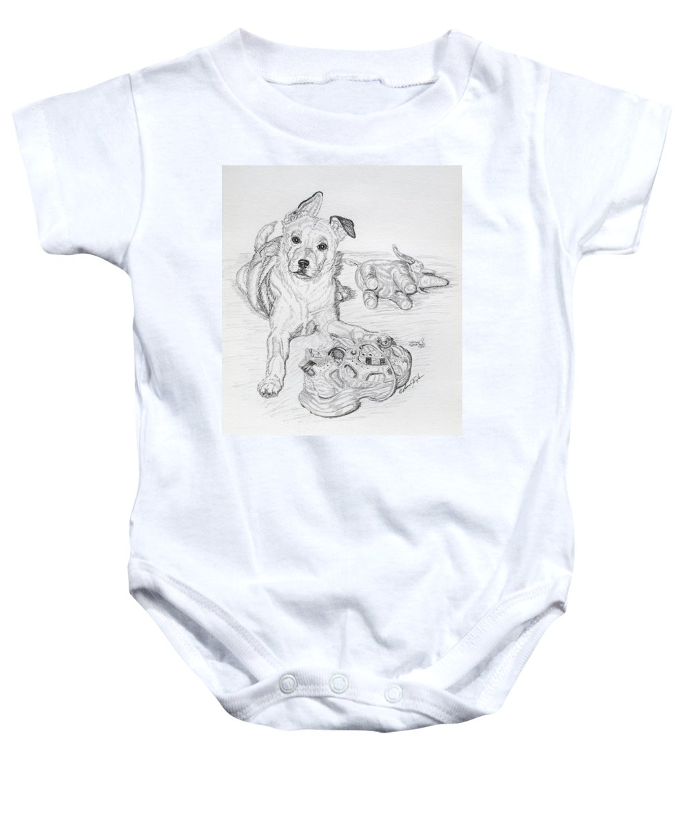 Animal Baby Onesie featuring the drawing Yes This Is My Toy by Lana Tyler