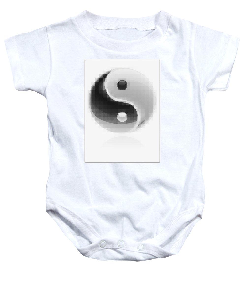 Yin Baby Onesie featuring the digital art Yin Yang Mosaic by Daniel Hagerman