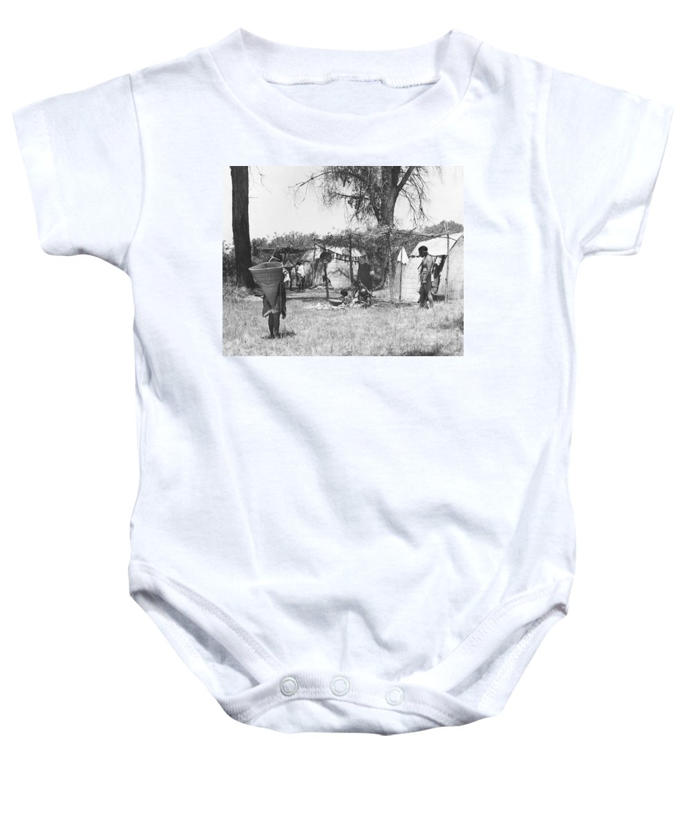 1930 Baby Onesie featuring the photograph Yokut Indian Homes by Underwood Archives Onia