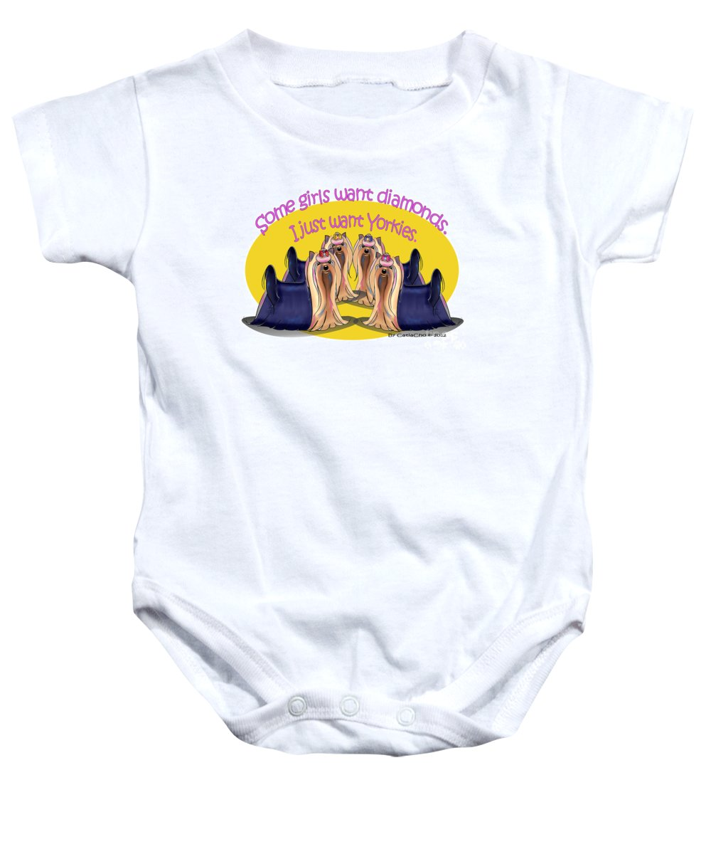 Yorkie Baby Onesie featuring the digital art Yorkies Are A Girls Best Friends by Catia Lee