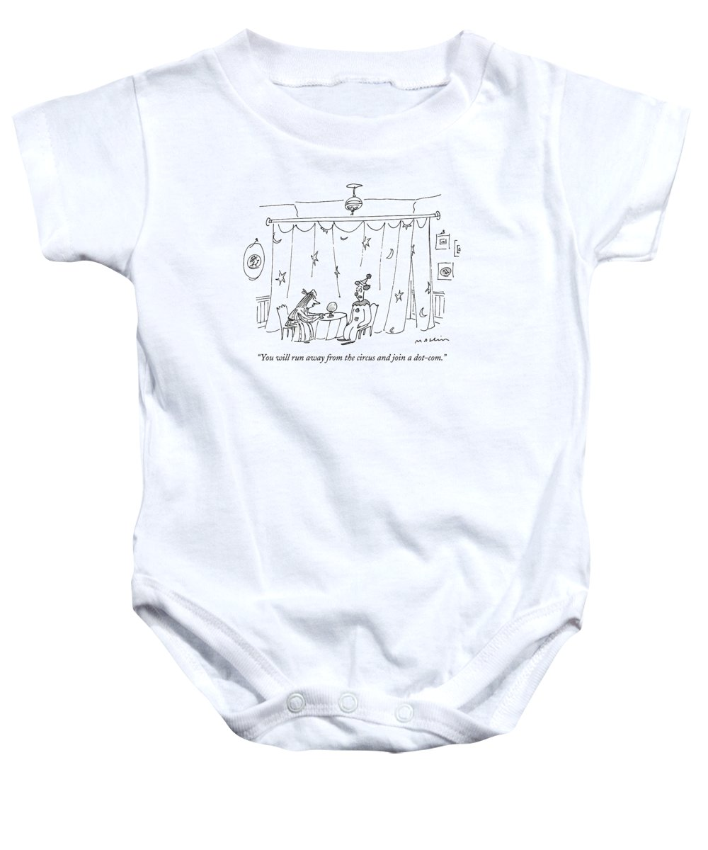 Circus - Clowns Baby Onesie featuring the drawing You Will Run Away From The Circus And Join by Michael Maslin