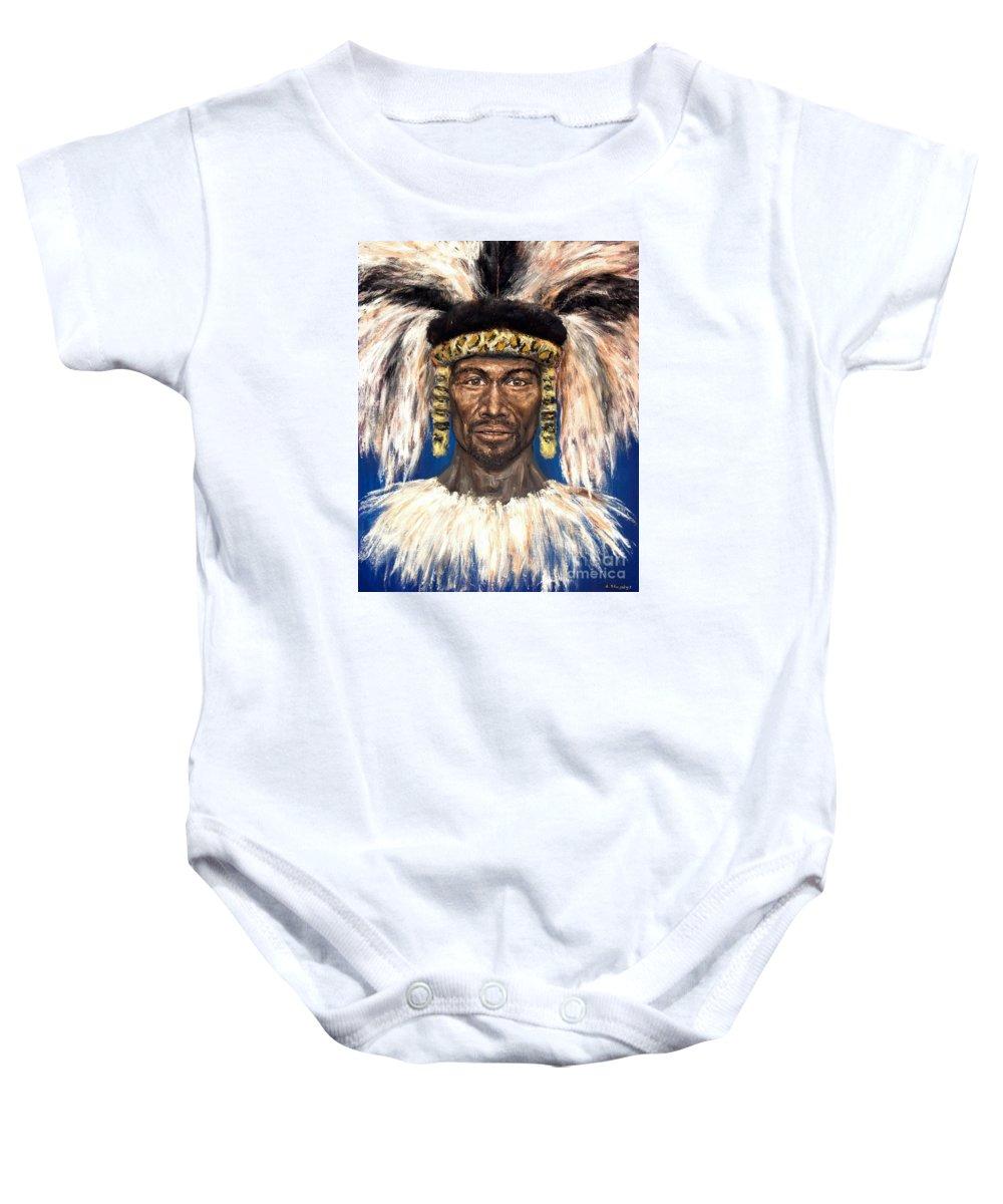 Zulu Baby Onesie featuring the painting Zulu Warrior by Arturas Slapsys