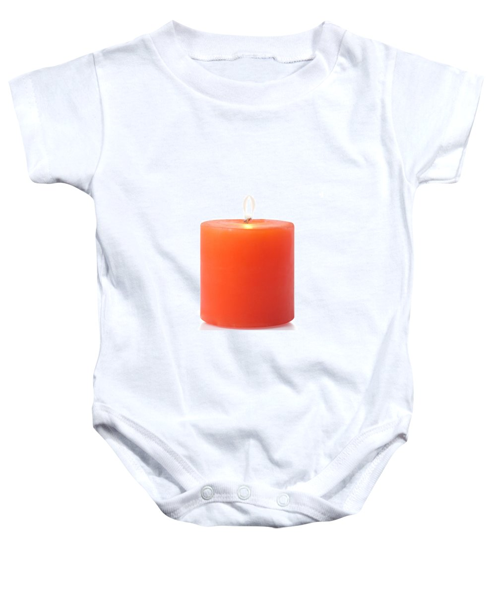 Candle Baby Onesie featuring the photograph Red Candle by Atiketta Sangasaeng