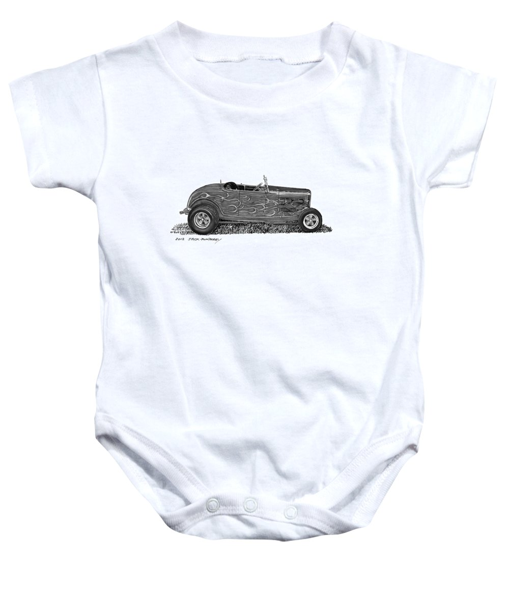 Framed Prints Of Pen And Ink Wash Paintings Of Cars From The 30s Baby Onesie featuring the painting 1932 Ford Hi Boy Hot Rod by Jack Pumphrey