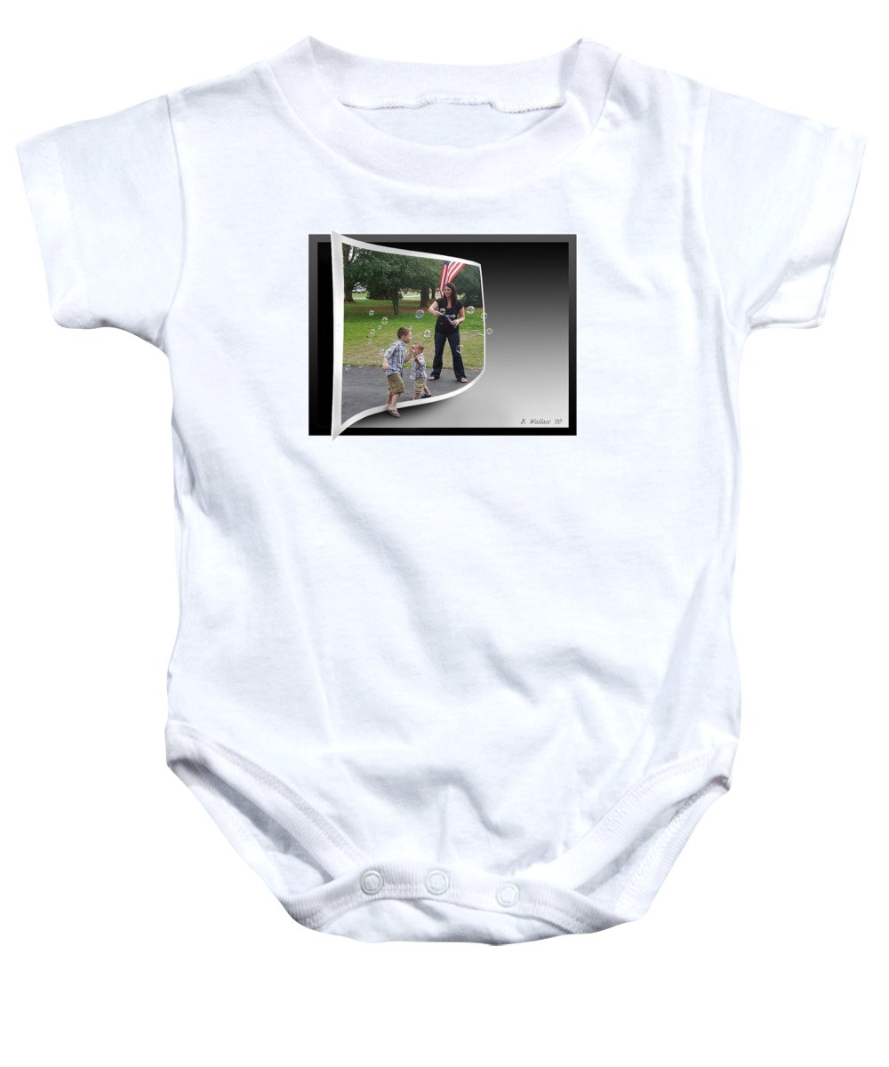 2d Baby Onesie featuring the photograph Chasing Bubbles by Brian Wallace
