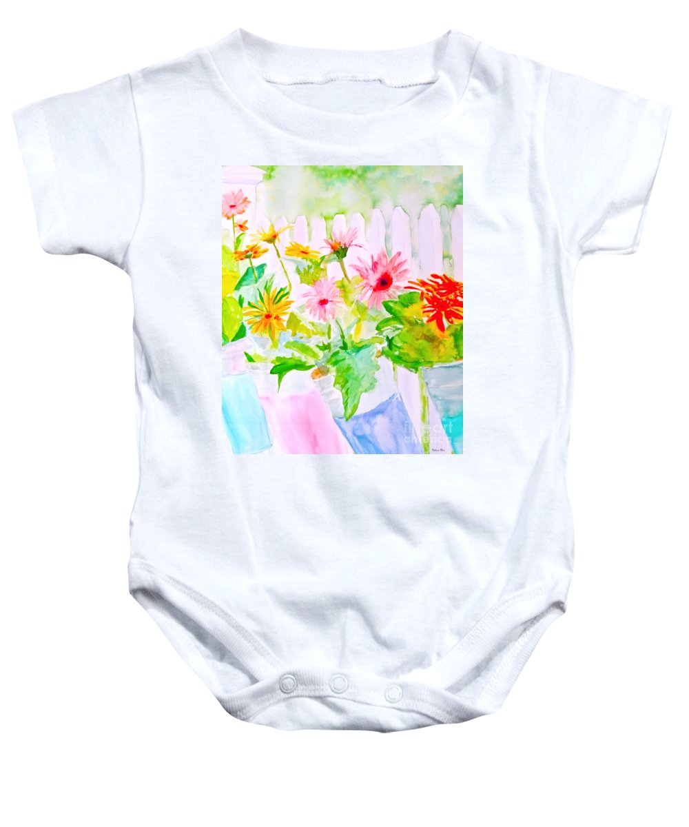 Daisy Baby Onesie featuring the painting Daisy Daisy by Beth Saffer