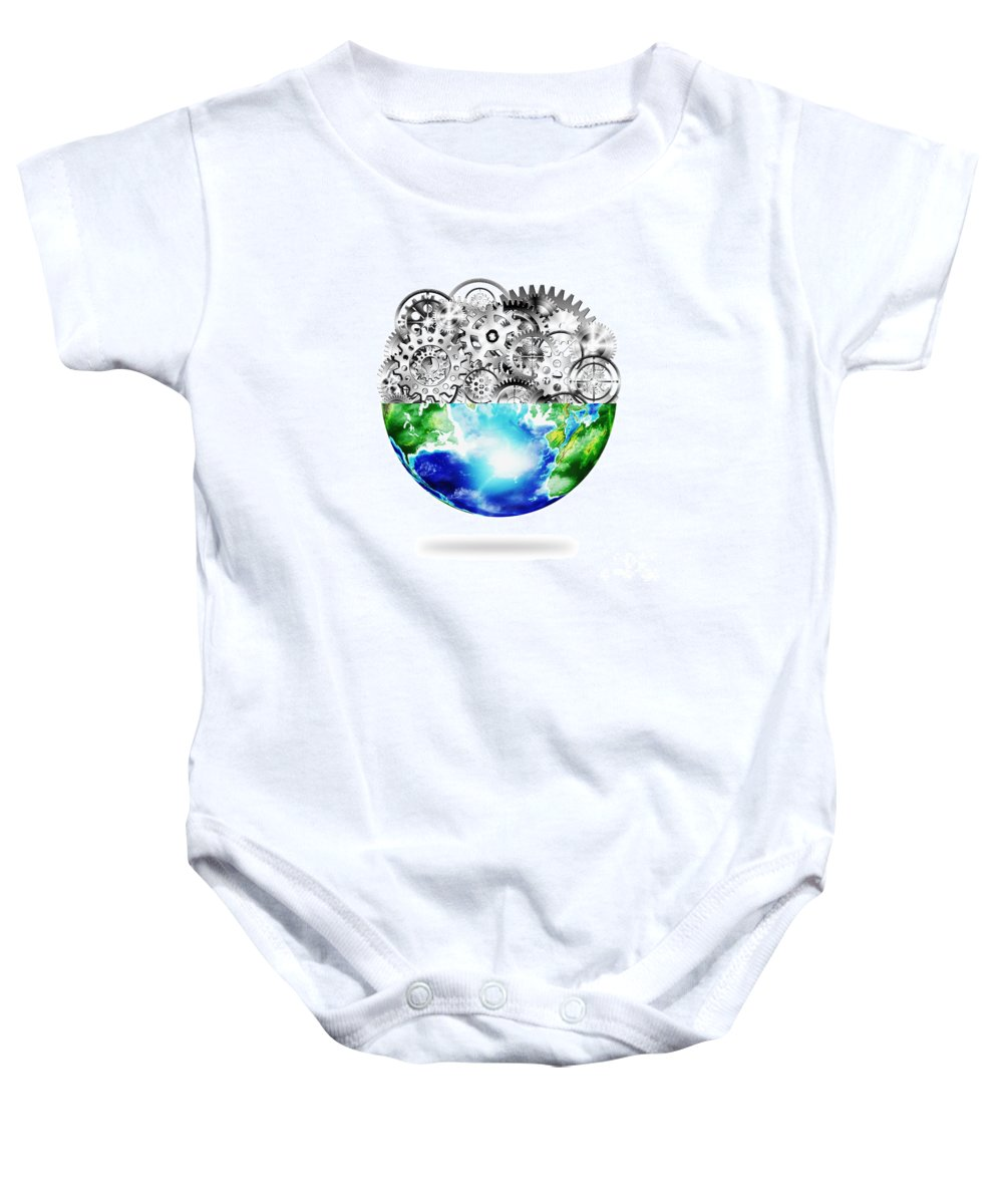 Art Baby Onesie featuring the photograph Globe With Cogs And Gears by Setsiri Silapasuwanchai