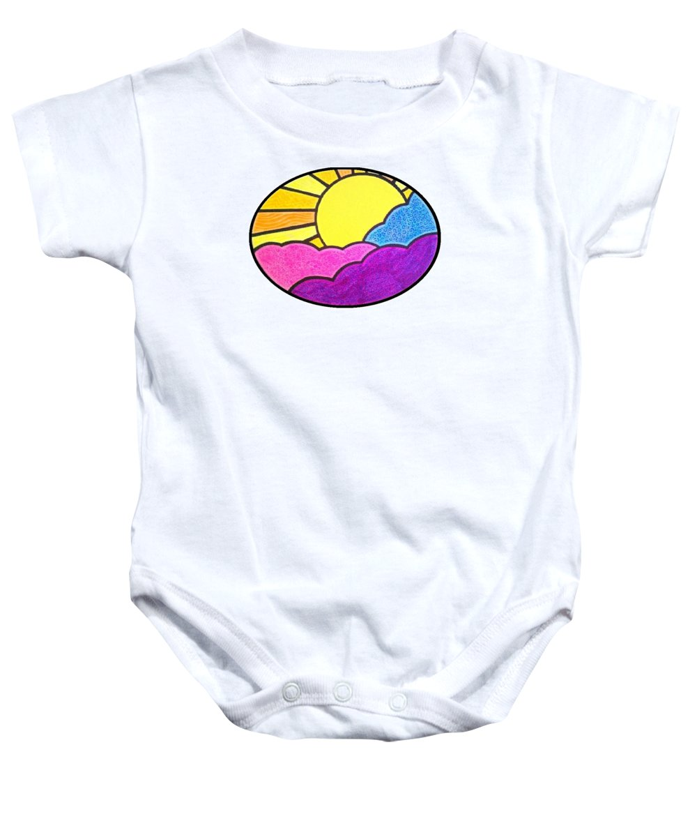 Beatles Baby Onesie featuring the painting Good Day Sunshine by Jim Harris