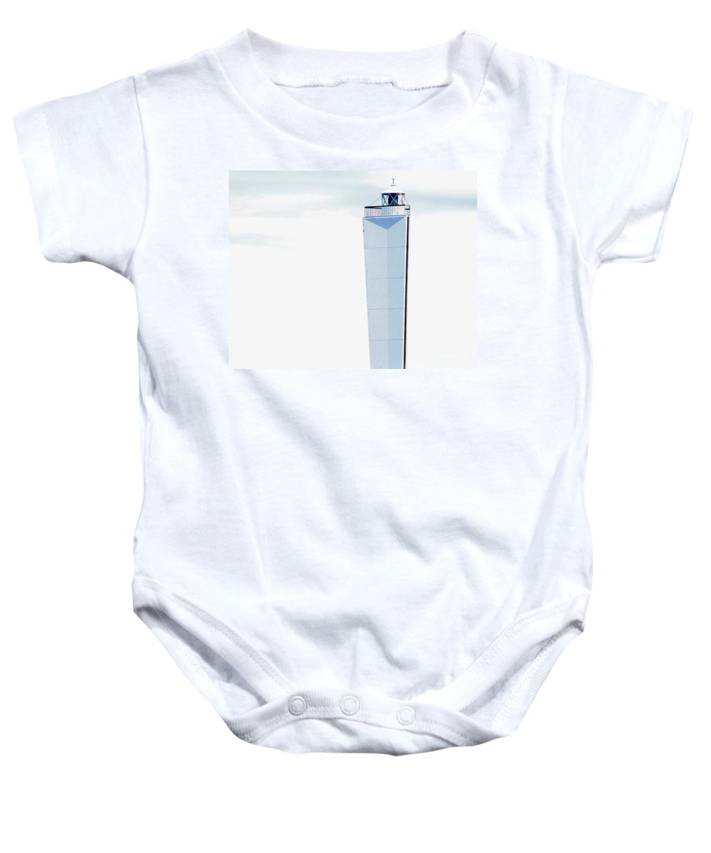Lighthouse Baby Onesie featuring the photograph Into The Blue by Stephen Mitchell