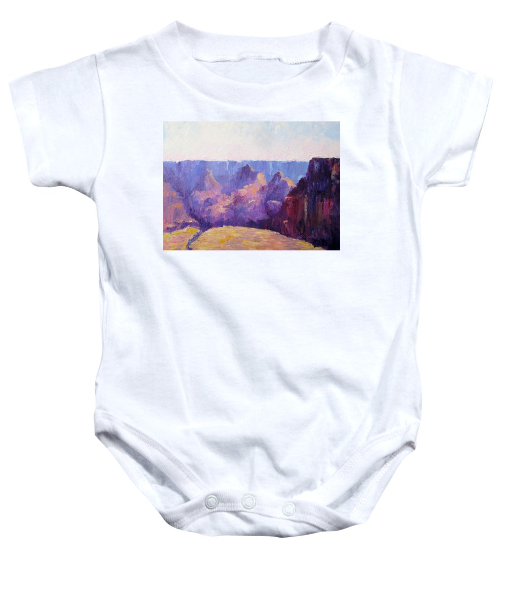 Grand Canyon Baby Onesie featuring the painting Morning Light by Terry Chacon