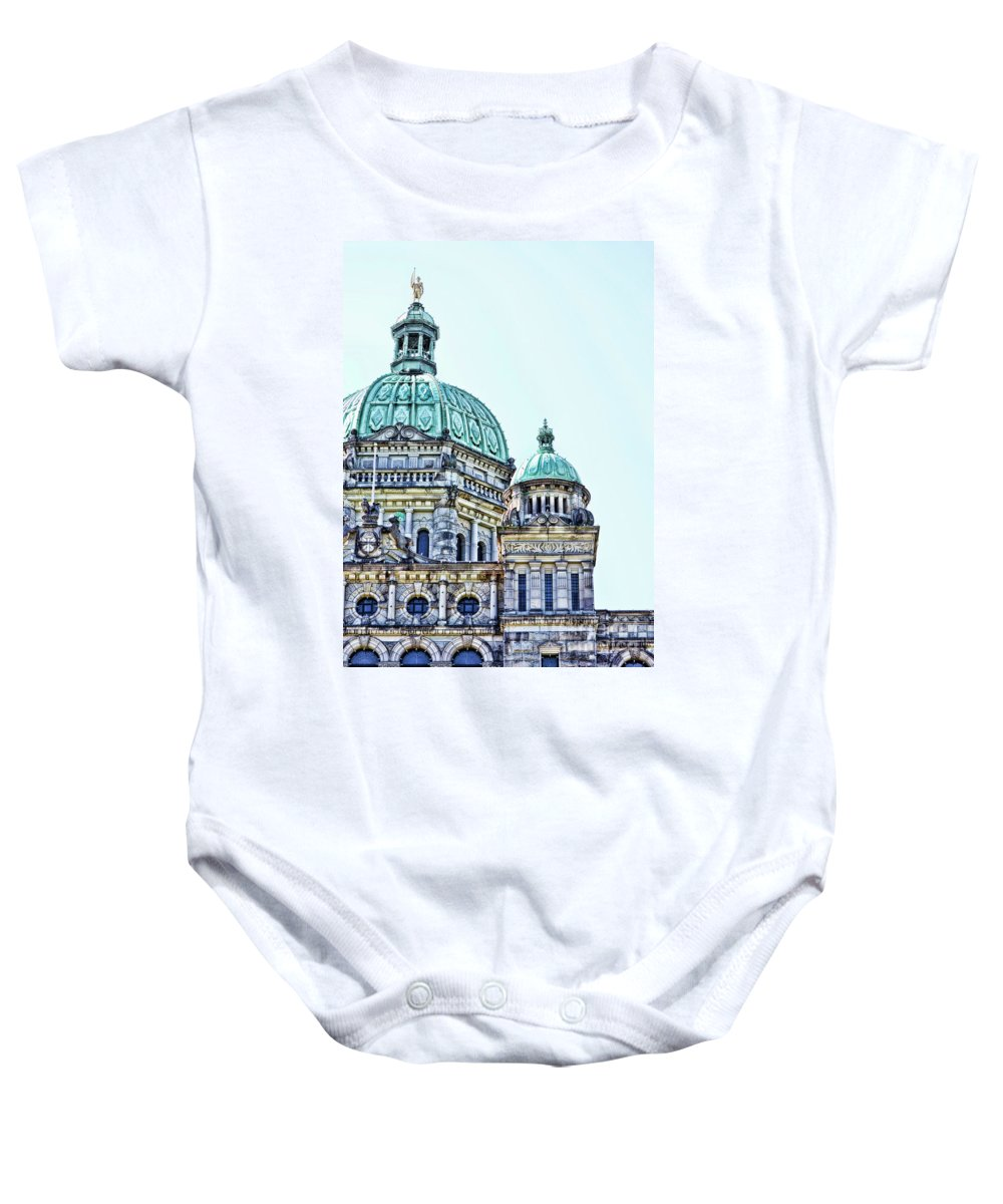 British Columbia Baby Onesie featuring the photograph Parliament by Traci Cottingham