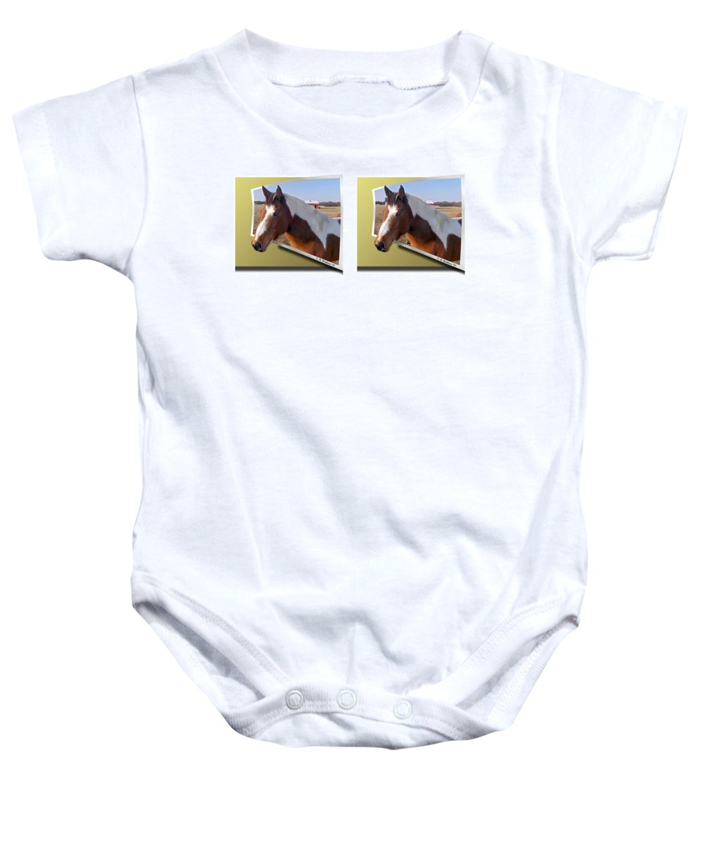 3d Baby Onesie featuring the photograph Pony Pose - Gently Cross Your Eyes And Focus On The Middle Image by Brian Wallace
