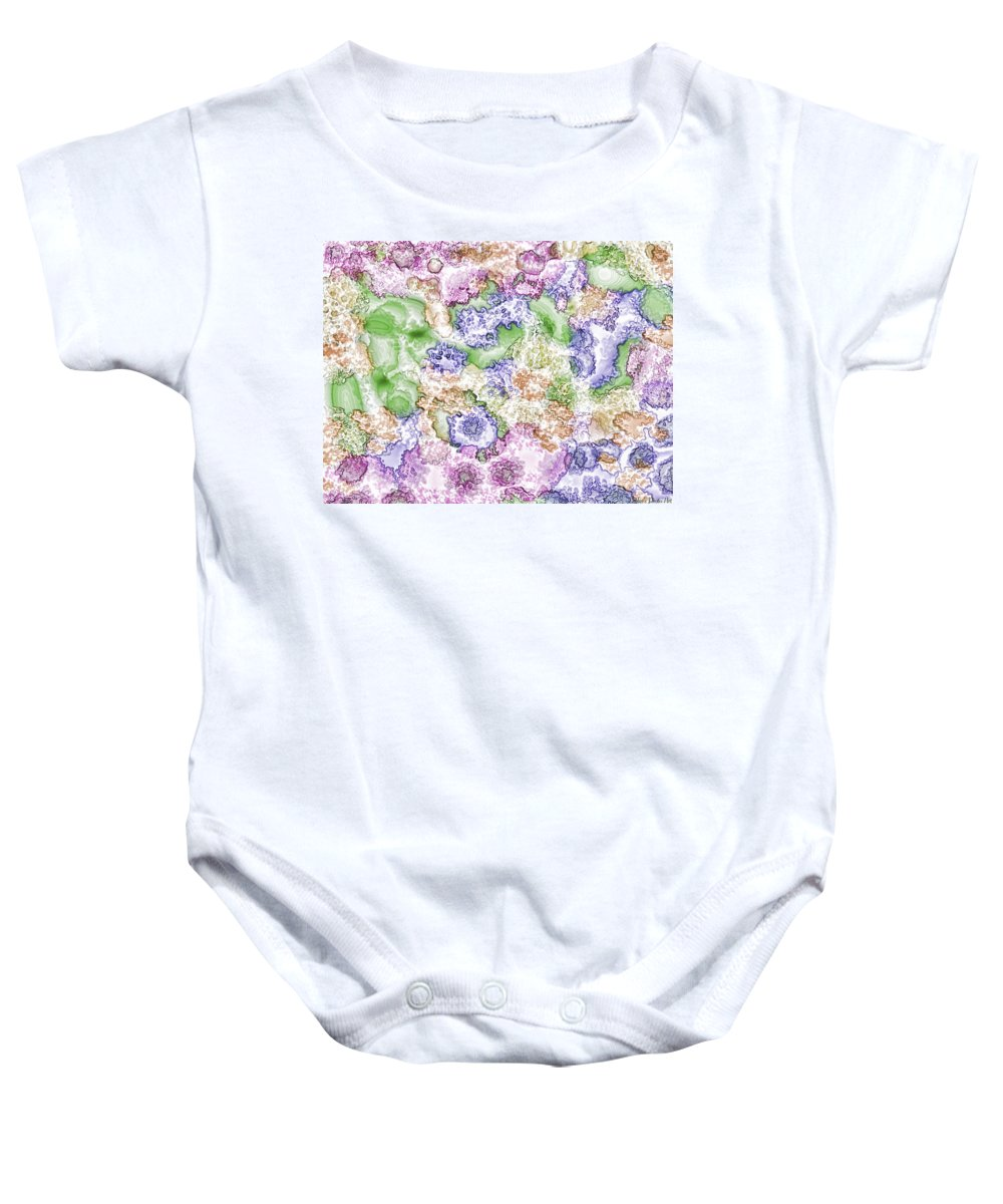 Abstract Baby Onesie featuring the digital art Strange New World by Debbie Portwood