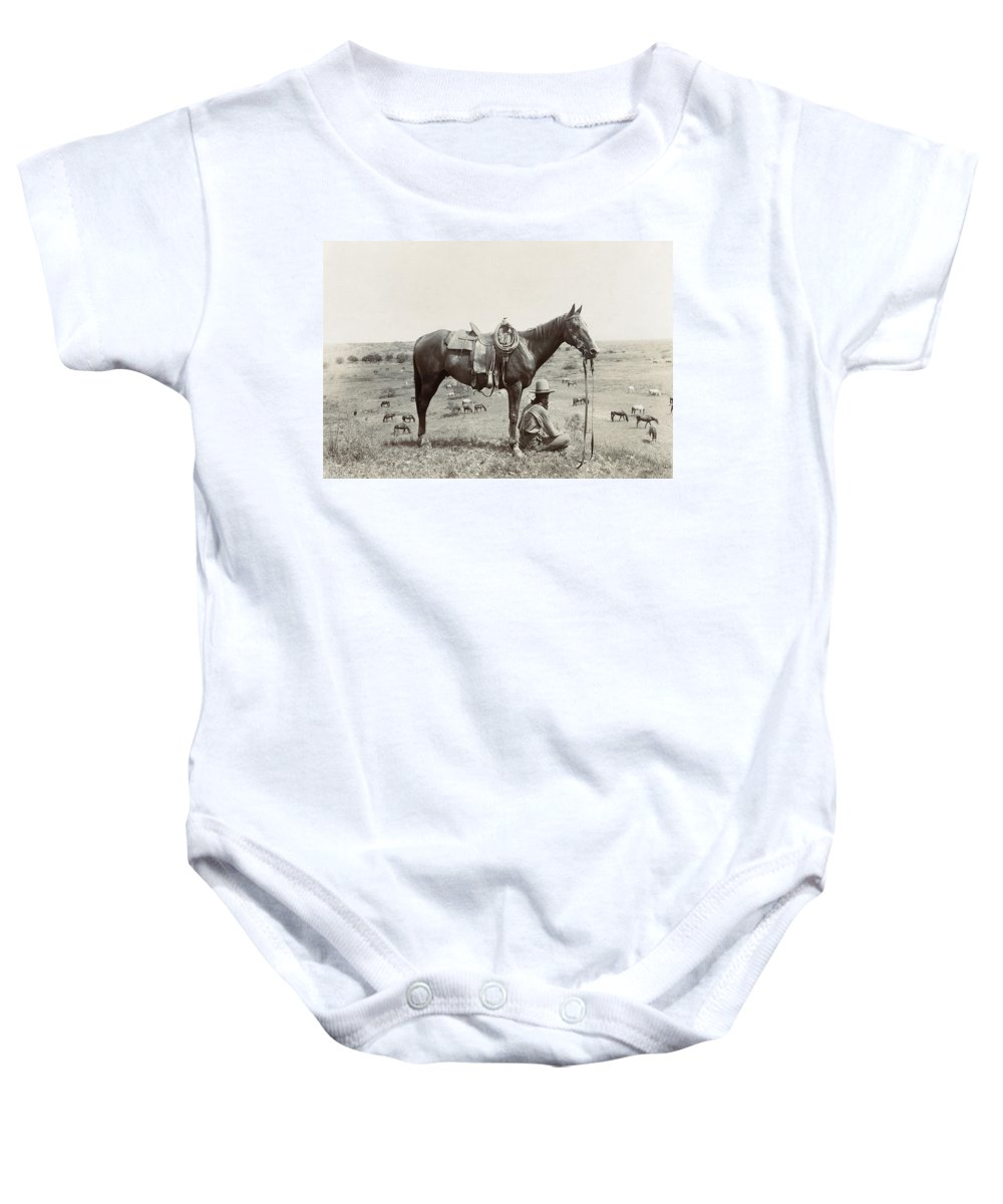1910 Baby Onesie featuring the photograph Texas: Cowboy, C1910 by Granger