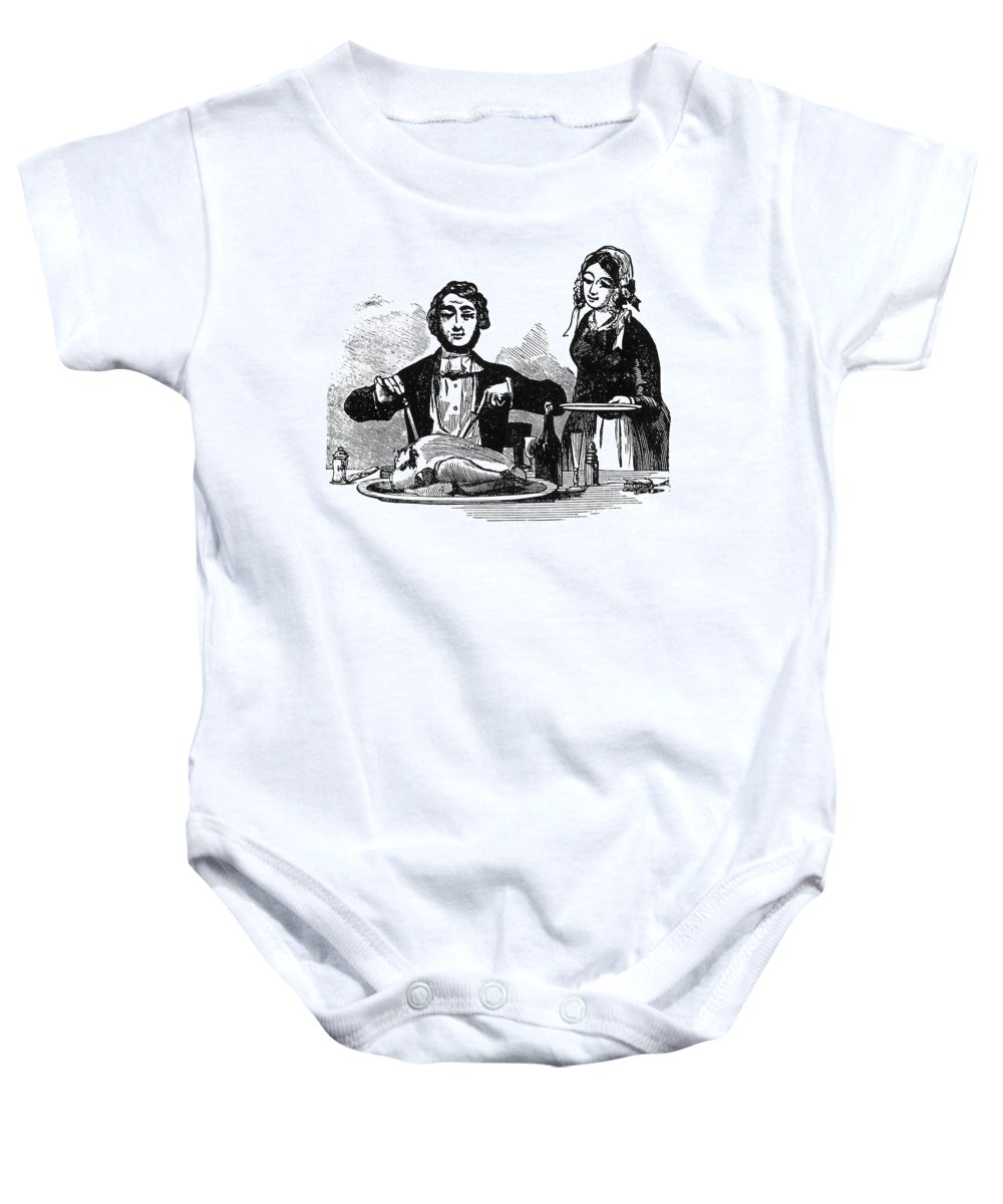19th Century Baby Onesie featuring the photograph Thanksgiving, 19th Century by Granger