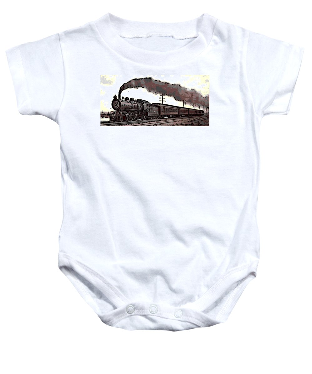 1800's Baby Onesie featuring the photograph 1800's Steam Train by George Pedro