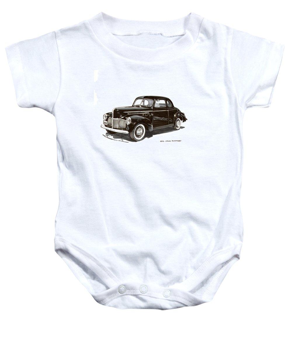 1940 Studebaker Business Coupe Baby Onesie featuring the painting Studebaker Business Coupe by Jack Pumphrey