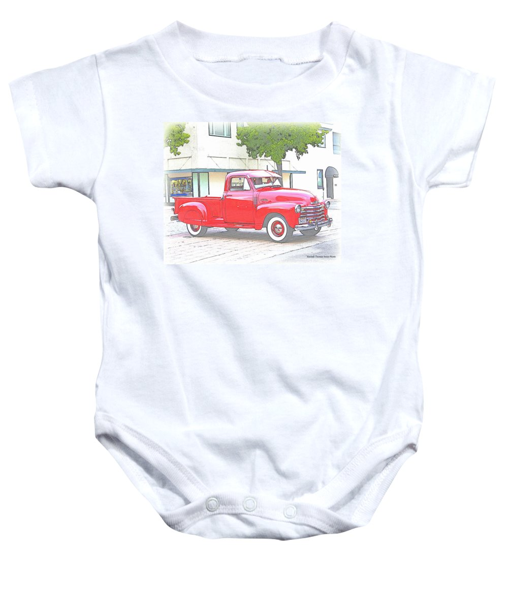 Truck Baby Onesie featuring the photograph 1953 Red Chevy Pickup Truck by Randall Thomas Stone
