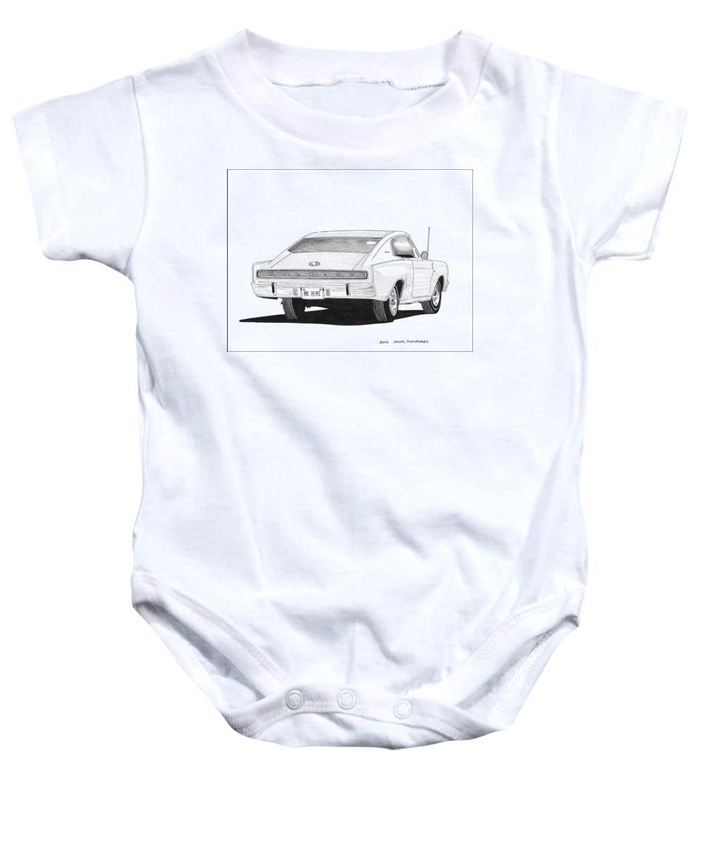 1966 Dodge Muscle Baby Onesie featuring the painting Dodge Charger by Jack Pumphrey