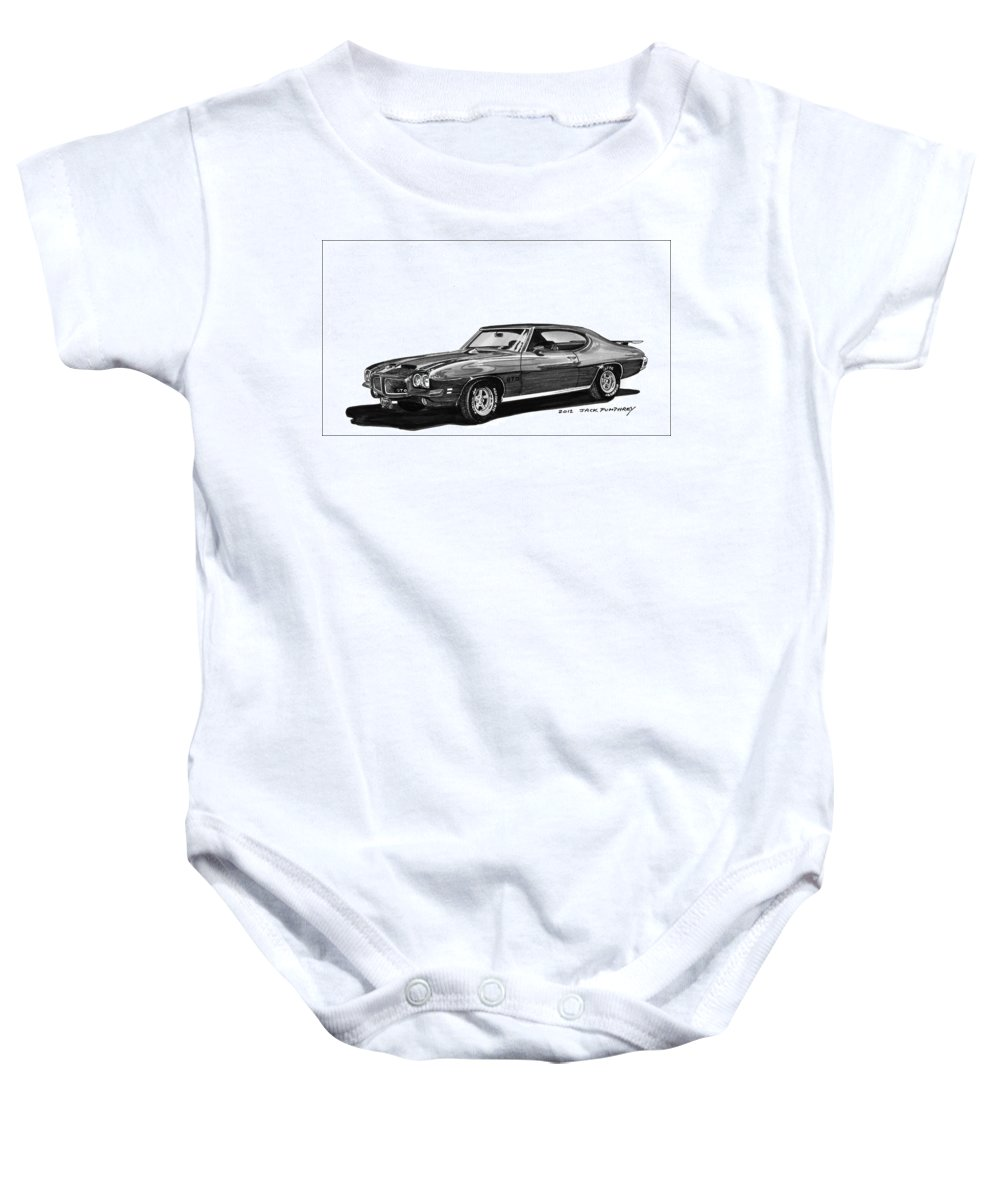 Framed Prints Of Pen And Ink Wash Paintings Of Cars From The 30s Baby Onesie featuring the painting 1971 Pontiac G T O by Jack Pumphrey