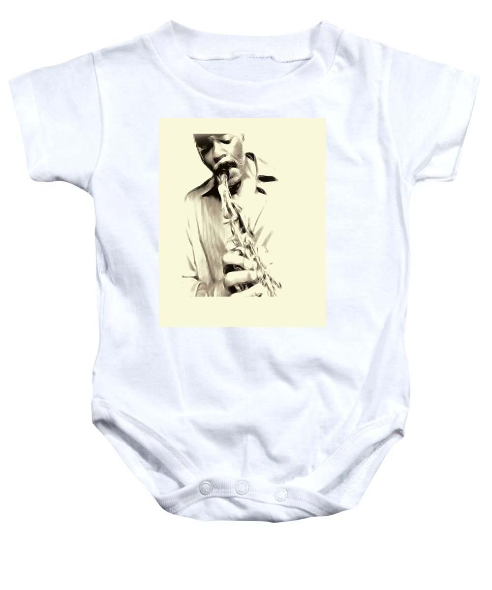 Music Baby Onesie featuring the photograph Morgan by Terry Fiala