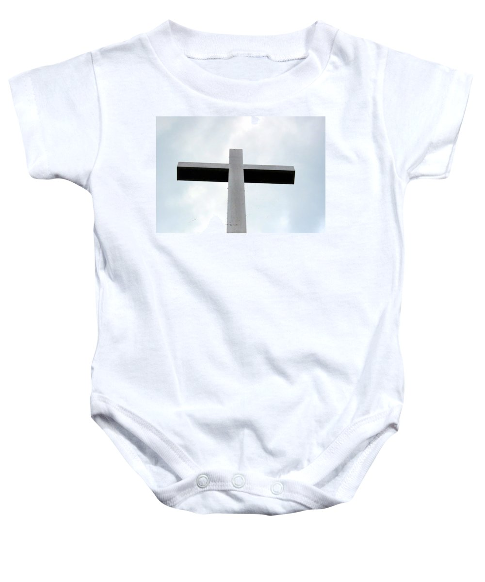 Cross Baby Onesie featuring the photograph Skies The Limit by Art Dingo