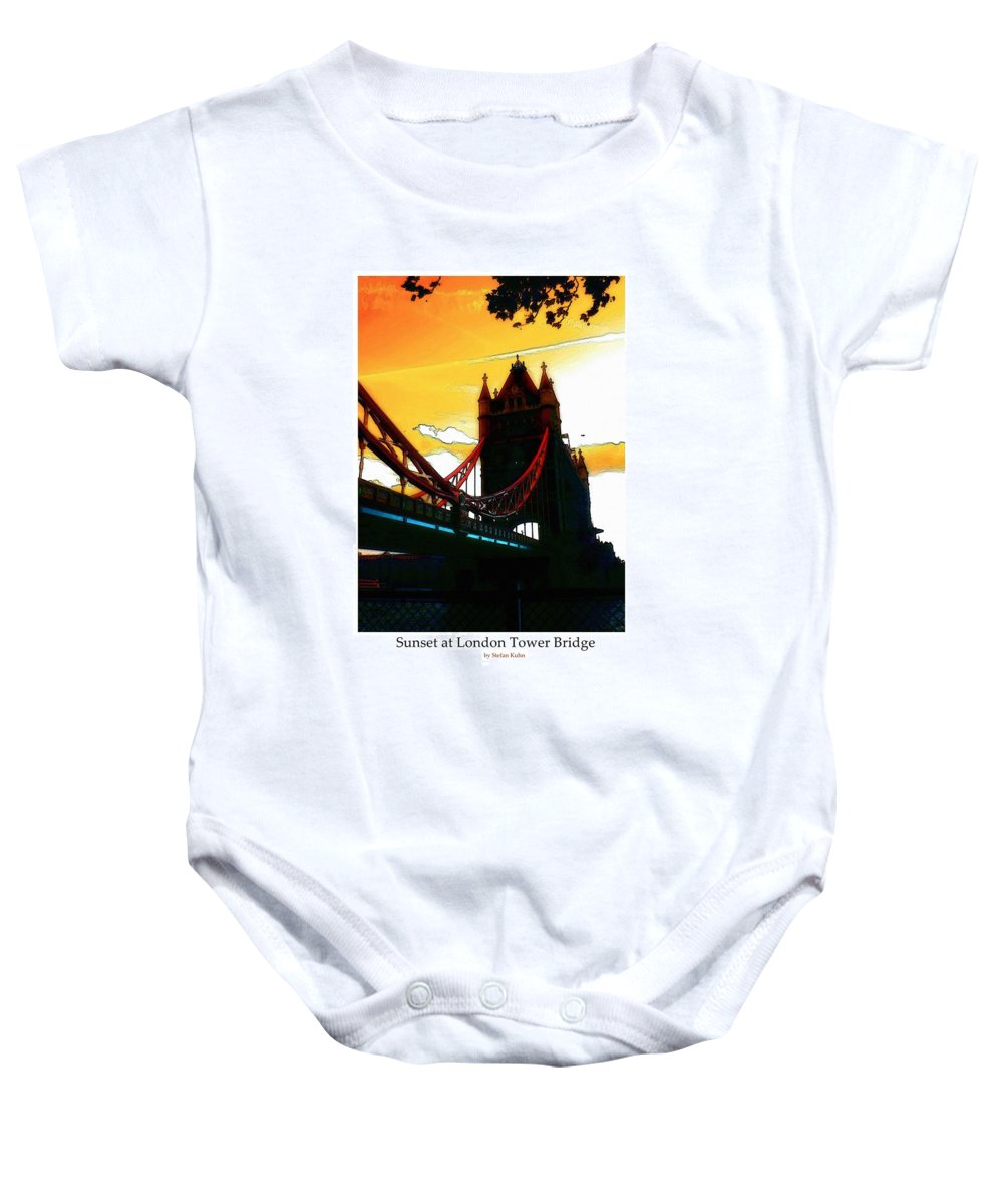London Tower Bridge United Kingdom Gb Sky Clouds Cloud Bw Black White Baby Onesie featuring the digital art Sunset At Tower Brigde by Steve K